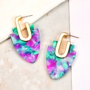 Jewelry - Acrylic Hoop Earrings PURPLE/TEAL